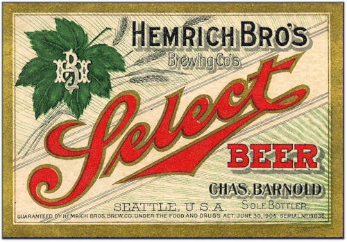 Hemrich Bro's Select Beer label - image