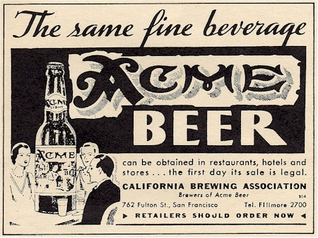 First Acme  beer ad for Repeal c.1933 - image