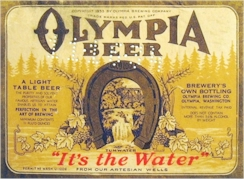 Olympia Beer label, c.1934