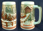 1984 Budweiser Holiday stein - Wagon & Team  and Covered Bridge