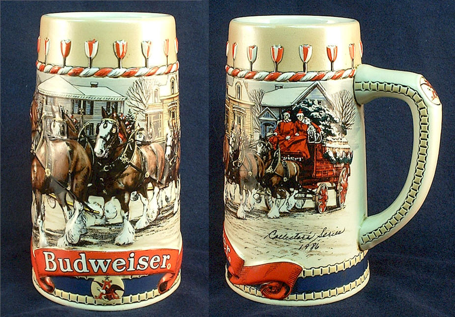 1986 budweiser holiday stein traditional houses and team wagon - Budweiser Christmas Steins