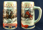 1986 Budweiser Holiday stein - Traditional Houses and Team & Wagon