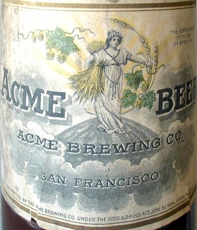 Vintage acme beer bottle label factory nos error misprint for Acme salon san francisco