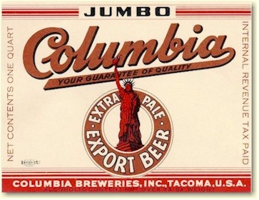 Columbia Beer label, c.1940 - image