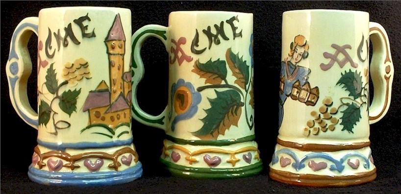 Three Acme beer mugs by Fulop