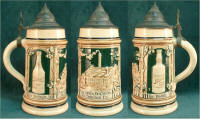 Three views of Aug. Lang's factory scene stein ca.1910