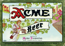 Acme Beer label ca.1950