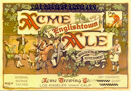 Acme Englishtown Ale label from LA, c. 1939 - image