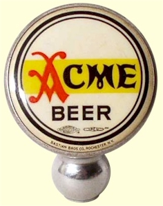 Acme Beer chrome ball tap knob
