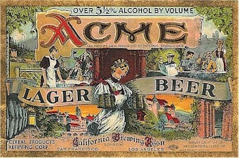 Acme Lager Beer label 5% ca.1933-35