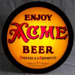 Acme Beer convex glass sign ca.1933