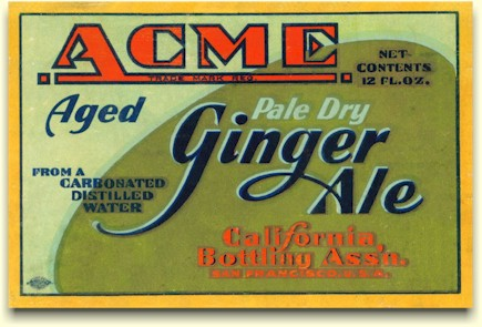 Acme aged Ginger Ale label