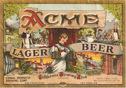 Acme Lager beer label c.1933