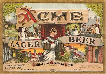 Acme Lager Beer label 1935-36