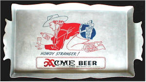 Acme Beer aluminium tray with Petty girl figure