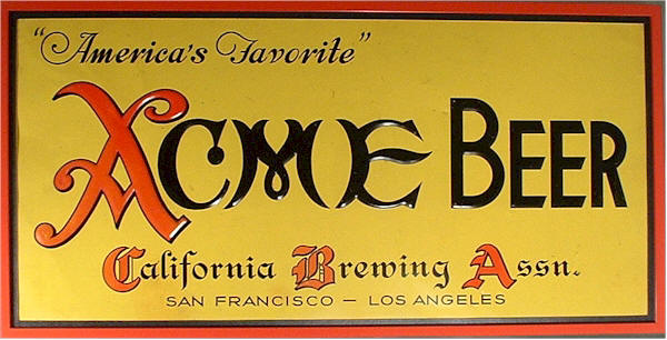 Acme Beer, embossed tin sign - image