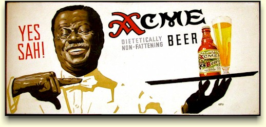 Waiter with tray of Acme beer, by Reid.