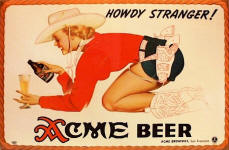 Acme Beer cowgirlsign by Petty 1943