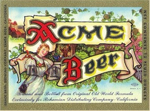 Acme Beer label ca.1959 by Grace Bros.