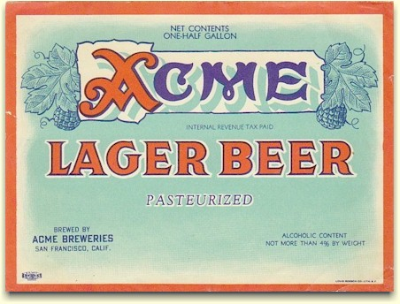 Acme Lager Beer label half gal. Pasturized