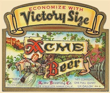Acme quart  label Victory Size 1942-46