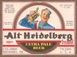 Alt Heidelberg Beer label, c.1935