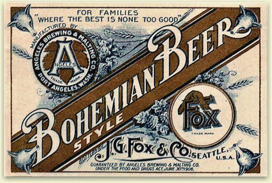 Angeles Bohemian Beer label ca.1910