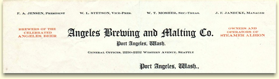 Angeles Brewing & Malting Co letterhead, c.1909