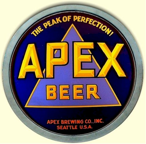 Apex Beer convex R.O.G. glass sign