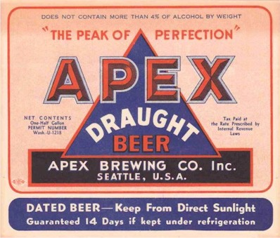 Apex half-gal draught beer label