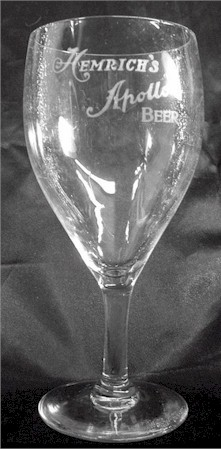 Hemrich's Apollo Beer etched glass - image