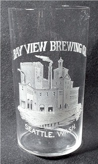 Bay View Brewery etched glass, c.1895 - image