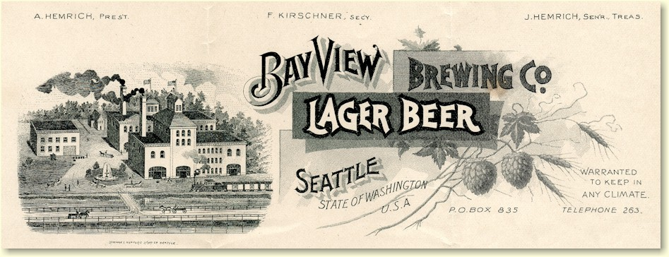 Bay View Brewery 1891 letterhead