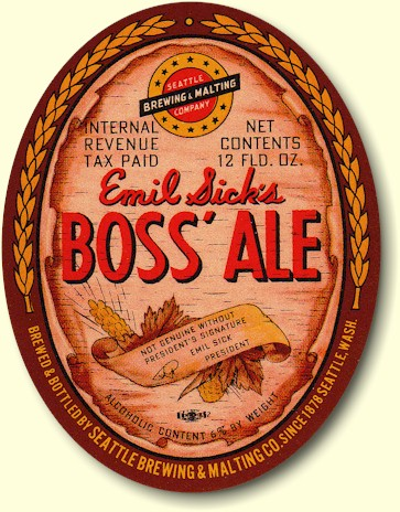 Boss' Ale label, ca.1940