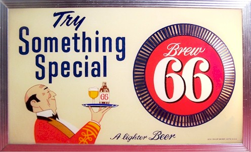 Brew 66 lighted beer sign - image