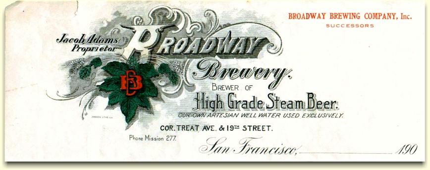 Broadway Brewery of SF - letterhead c.1905