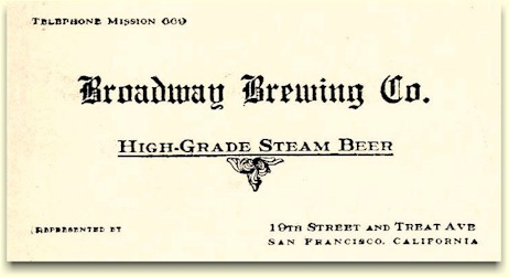 Broadway Brewery steam beer ad ca.1917