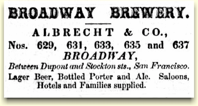 Broadway Brewery ad June 1862