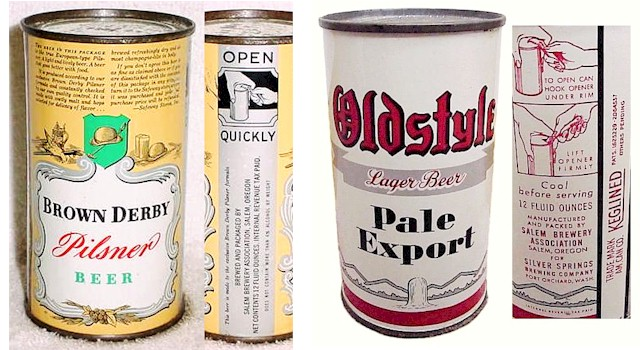 Salem Brewery's Brown Derby & Oldstyle Beer cans - image