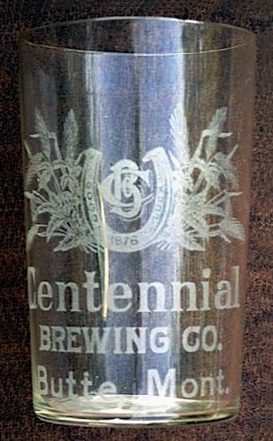 Centennial Brg. etched beer glass - image