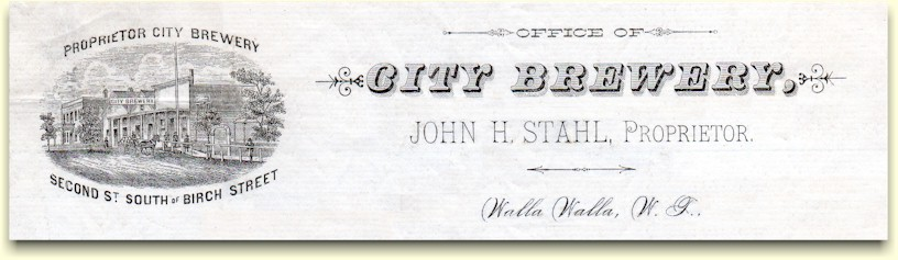 Stahl's City Brewery letterhead, c.1884