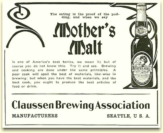Claussen's Mother's Malt ad, ca.1910