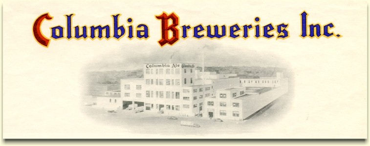 Columbia Breweries Inc. Jan. 1945 letterhead