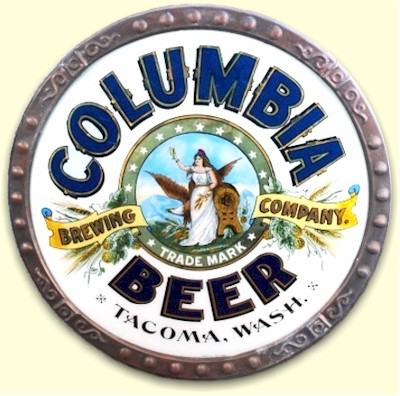 Columbia Beer glass sign, c.1910 - image