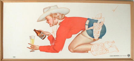 Acme Beer cowgirl pin-up by Petty - image