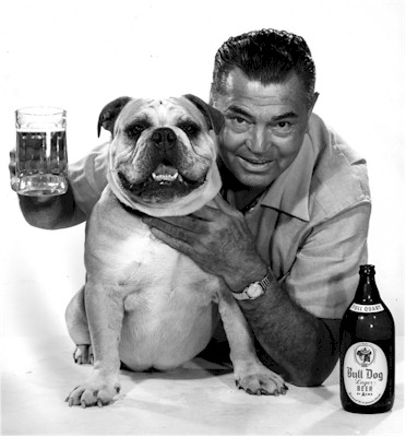 Jack Dempsey and Bull Dog Beer mascot - photo