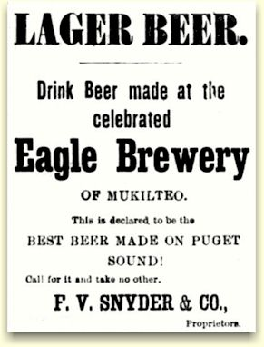 Seattle ad for Eagle Brewery's beer from Mukilteo