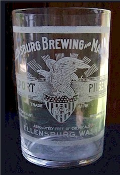 Ellensburg Brewing etched beer glass
