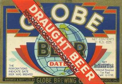 Globe draught beer label - image
