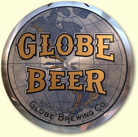 Globe Beer aluminum sign by Leyse